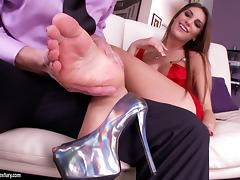 August Ames in a naughty foot fetish fuck adventure