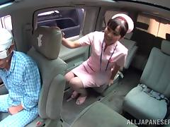 Nurse, Asian, Ass, Backseat, Blowjob, Couple