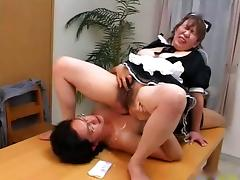 Japanese BBW mature maid