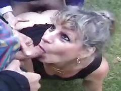 Slutty french mature outdoor anal gangbang