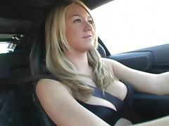 Alison Angel plays with her big boobs after driving a car