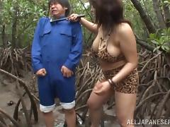 chubby japanese blonde enjoys forest sex on cumshot