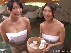 Immaculate Asian cowgirls giving blowjob in outdoor pov shoot