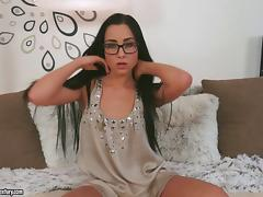 Horny brunette Denisa Deen wearing glasses plays with a dildo