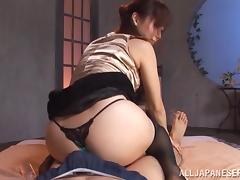 Horny Asian bitch favours a guy with a rimjob and a handjob