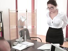 Breathtaking pornstar in a miniskirt giving a blowjob then gets drilled at the office
