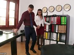 Feisty cowgirl in nylon stockings and a sexy miniskirt moaning as she gets hammered in the office