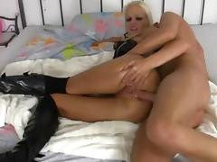 German blonde in high boots sucking and anal