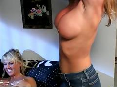 Cute lesbian playthings have a 5 person pussy licking orgy on a couch