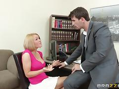 cum on her tits after hard pound in the office reality