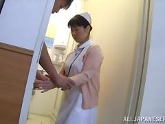 Mature Japanese nurse fucks a horny patient in a toilet
