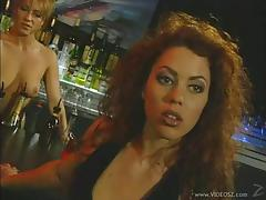 Lesbian babes hook up in a club after hours and lick pussy