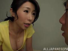 Bosomy Japanese mom plaeses a horny dude with a blowjob