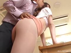 Sexy Japanese girl with long hair fucks and takes a sticky cumshot