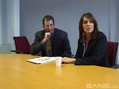 Jane Berry wearing stockings enjoys MMF sex in an office