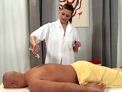 A MILF masseuse gives him a rubdown and a hardcore happy ending