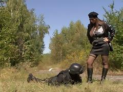A bitch called Dominno gets her crotch fucked deep and hard outdoors