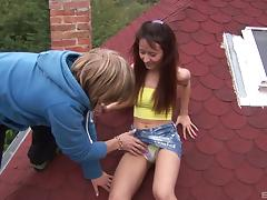 Crazy, daring amateurs fuck on the roof an all over the outdoors