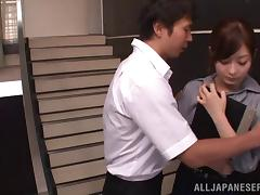 Rina Ishihara gets cum on her boobs after sucking many dicks