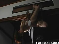 Lovely Japanese cutie gets bound, suspended a