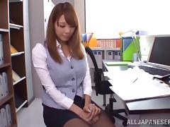 Japanese office girl gives a blowjob and a footjob