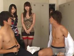 Japanese girls in stockings are involved in locker room group sex