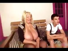 big tits cougar play with young boy