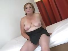 Nasty granny fucks and gets cum on her big tits