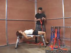 Captivating babes in bondage being tied by her gentleman in bdsm sex