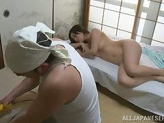 Elegant Asian cowgirl yelling while being hammered hardcore doggystyle in reality shoot