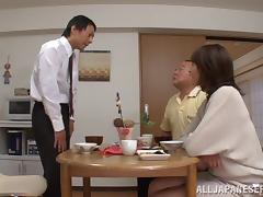 Accepting matured Asian dame getting fucked doggystyle before giving her guy blowjob