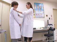 Three Japanese doctors have a wild FFM threesome in the office