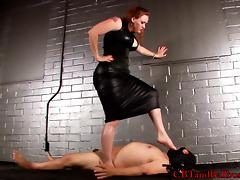 Attractive babes humiliating her guy by torturing him in femdom sex