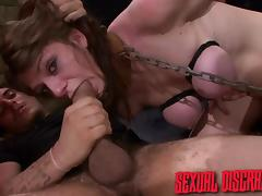 Chained, Babe, BDSM, Blowjob, Brunette, Slave