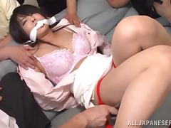 Seductive Asian pornstar in bondage having her nipples fiddled before getting gangbanged with vibrators