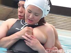 Inviting Japanese bimbo getting caressed by her guy before being fucked hardcore at the pool