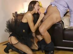 Old and Young, Angry, Babe, Blowjob, Brunette, Creampie