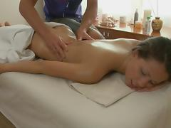 After an ass massage, the slut got fucked